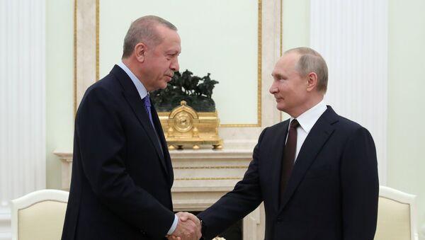 Президент РФ В. Путин встретился с президентом Турции Р. Эрдоганом - Sputnik Тоҷикистон
