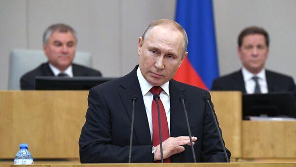 Президент РФ В. Путин принял участие в пленарном заседании Госдумы РФ - Sputnik Таджикистан