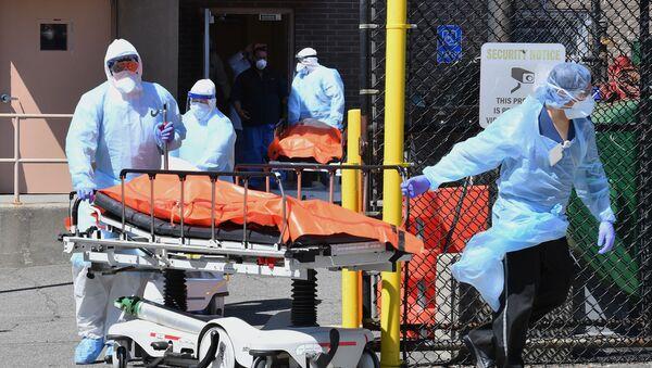 Медицинский персонал перемещает тела из медицинского центра Wyckoff Heights в рефрижератор в Бруклине, Нью-Йорк - Sputnik Тоҷикистон