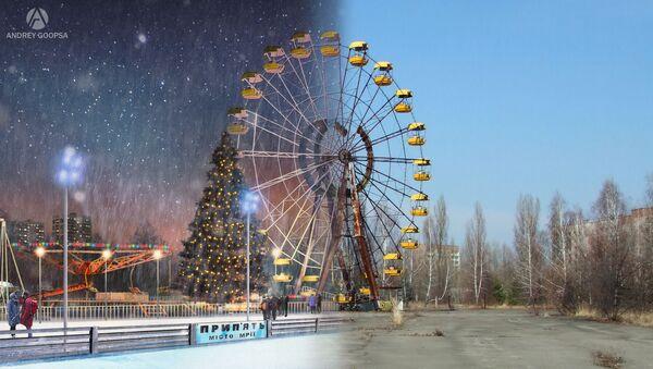 Фотографии колеса обозрения города Припять после аварии на Чернобыльской АЭС и в фантазии художника без аварии - Sputnik Таджикистан