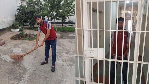 Задержанный нарушитель общественного порядка в Душанбе - Sputnik Тоҷикистон